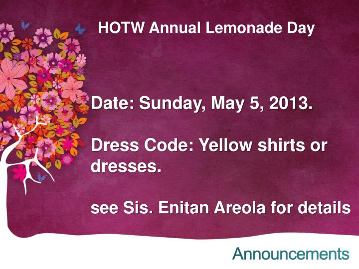HOTW Annual Lemonade Day
