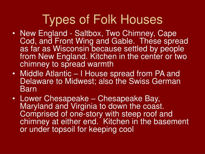 Types of Folk Houses
