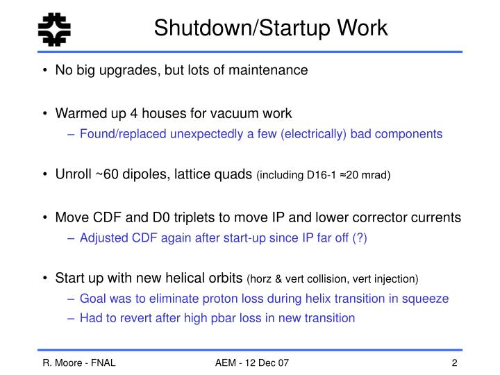 Shutdown/Startup Work
