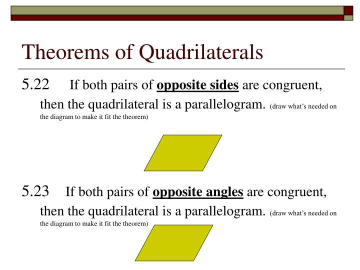 Theorems of quadrilaterals