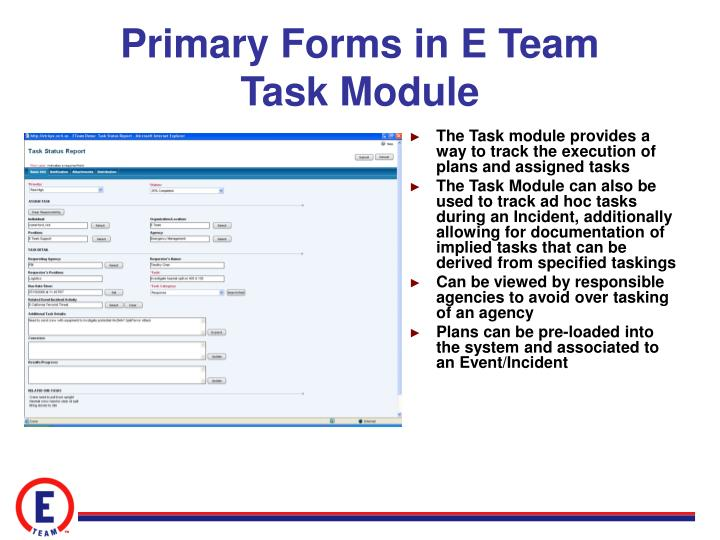 Primary Forms in E Team