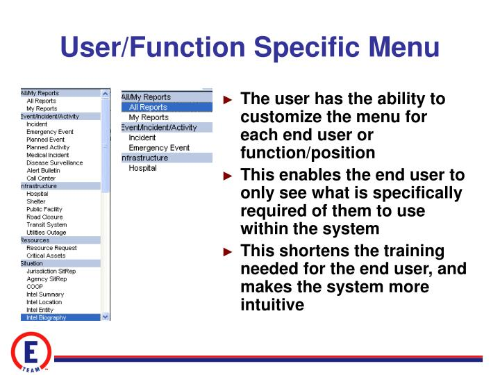 User/Function Specific Menu