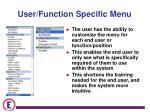 user function specific menu