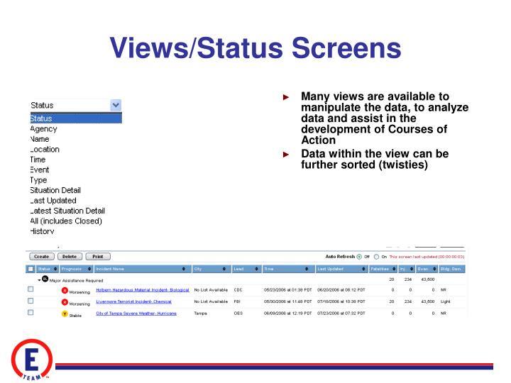 Views/Status Screens