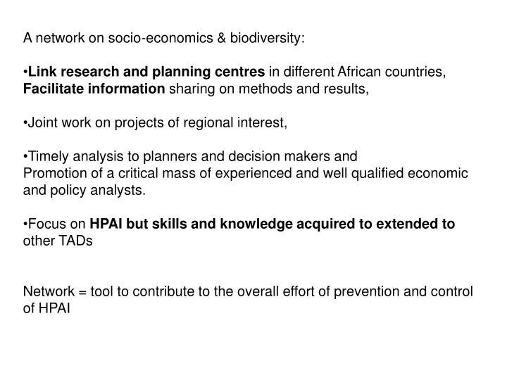 A network on socio-economics & biodiversity: