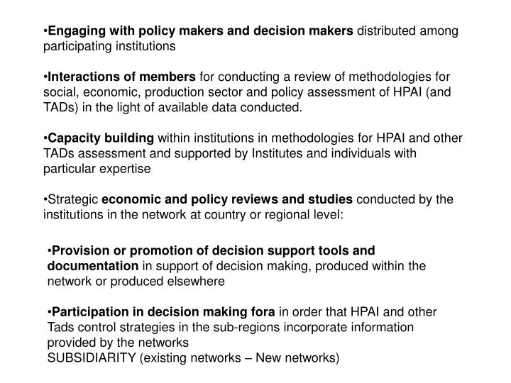 Engaging with policy makers and decision makers