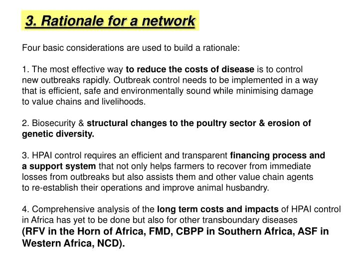 3. Rationale for a network