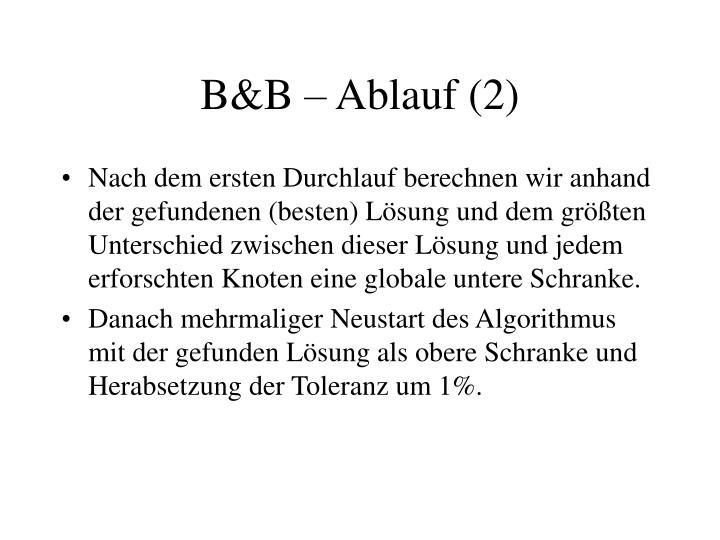 B&B – Ablauf (2)