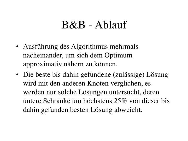 B&B - Ablauf