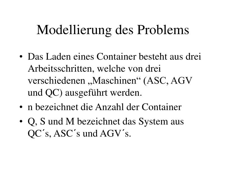 Modellierung des Problems