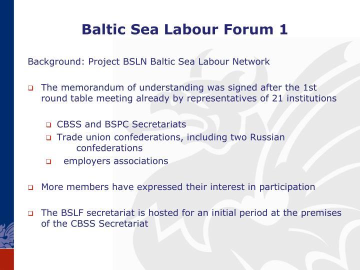 Baltic Sea Labour Forum 1