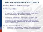 bslf work programme 2012 2013 2