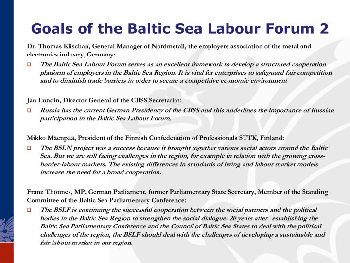Goals of the Baltic Sea Labour
