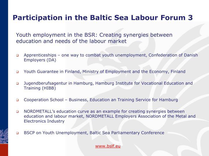 Participation in the Baltic Sea Labour
