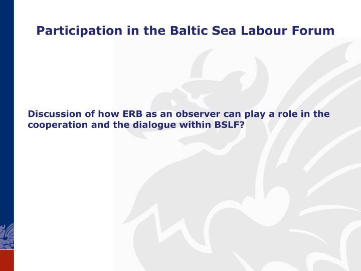 Participation in the Baltic Sea Labour Forum