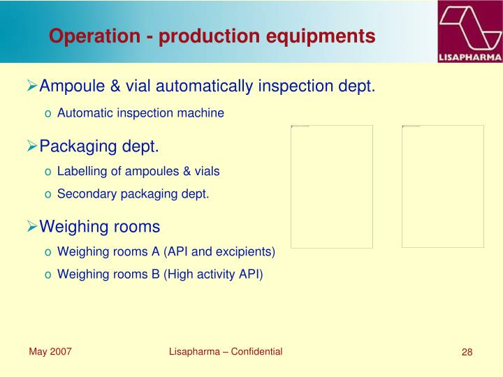 Operation - production equipments
