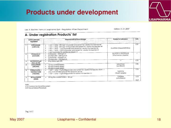 Products under development
