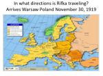 in what directions is rifka traveling arrives warsaw poland november 30 1919