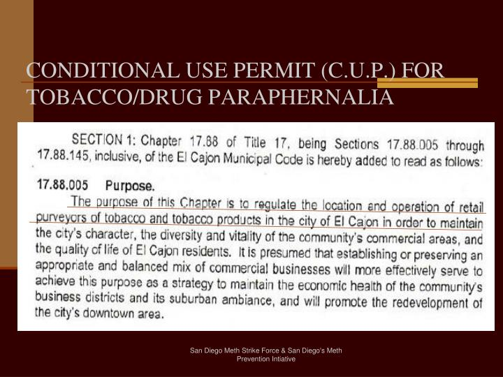 CONDITIONAL USE PERMIT (C.U.P.) FOR TOBACCO/DRUG PARAPHERNALIA