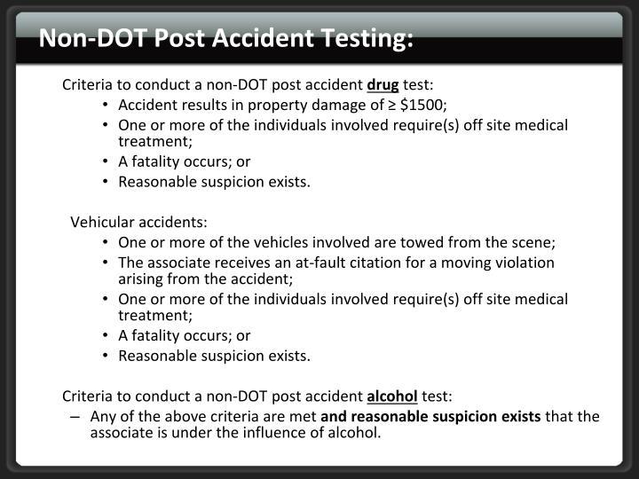 Non-DOT Post Accident Testing:
