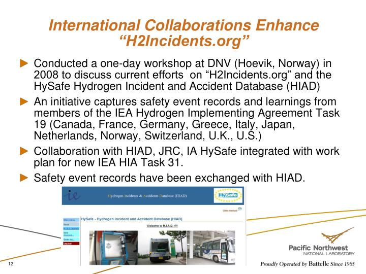 "International Collaborations Enhance ""H2Incidents.org"""
