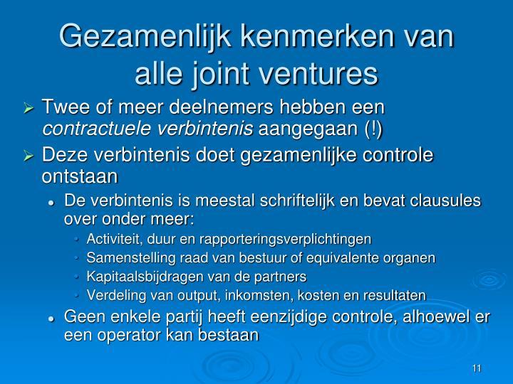 Gezamenlijk kenmerken van alle joint ventures