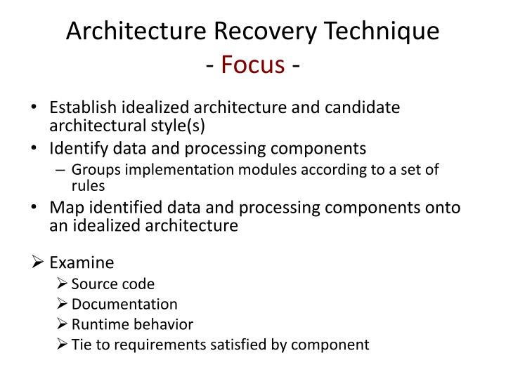 Architecture Recovery Technique