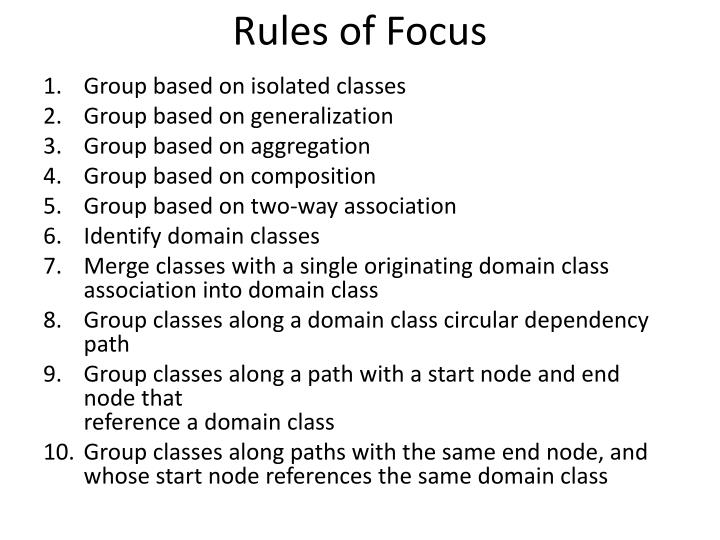 Rules of Focus