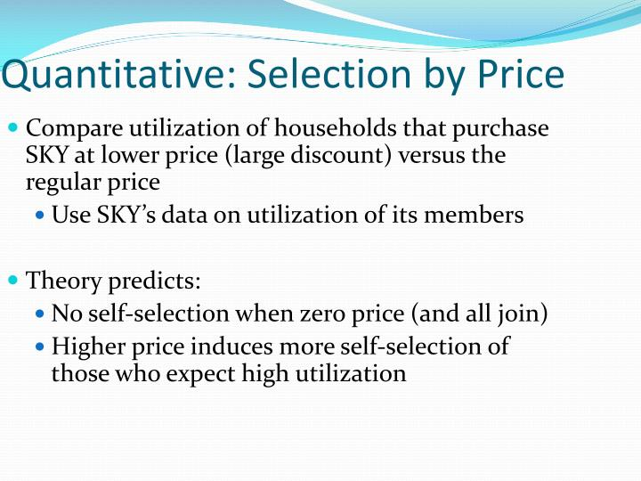 Quantitative: Selection by Price