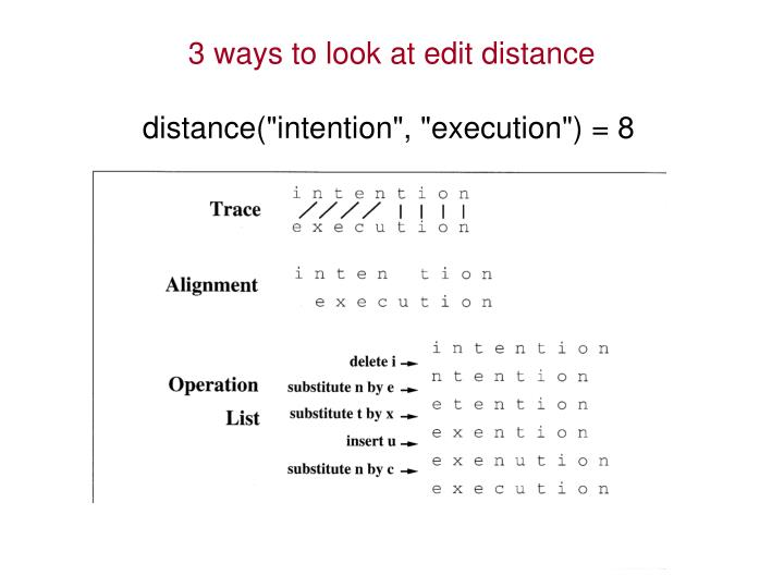 3 ways to look at edit distance