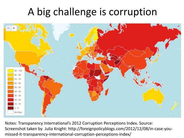 A big challenge is corruption