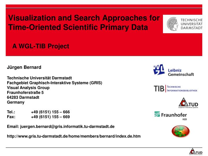 Visualization and search approaches for time oriented scientific primary data