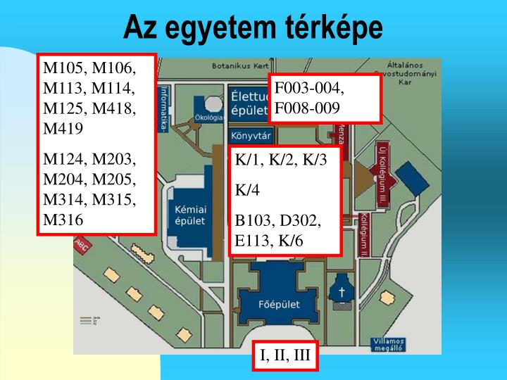 Az egyetem térképe