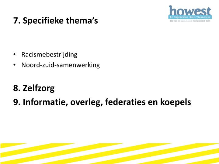 7. Specifieke thema's