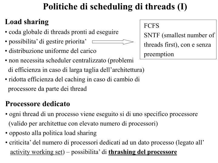 Politiche di scheduling di threads (I)