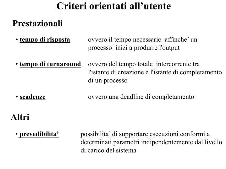 Criteri orientati all'utente