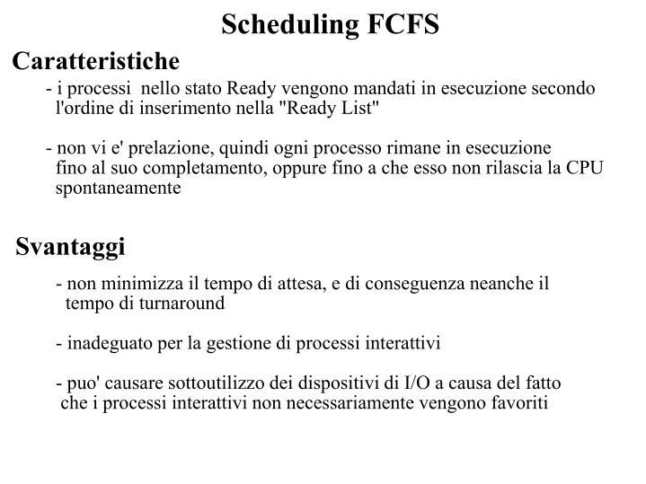 Scheduling FCFS