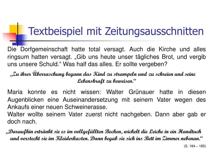 Textbeispiel mit Zeitungsausschnitten