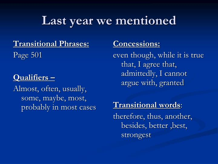 Transitional Phrases: