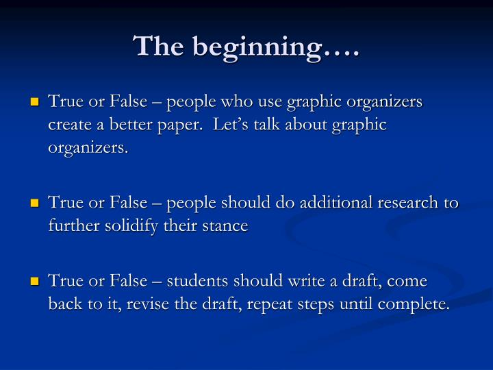 The beginning….