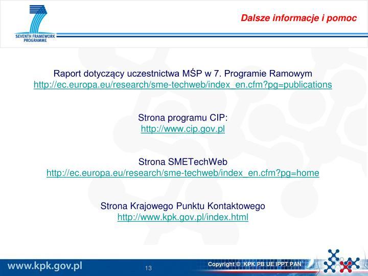 Raport dotyczący uczestnictwa MŚP w 7. Programie Ramowym