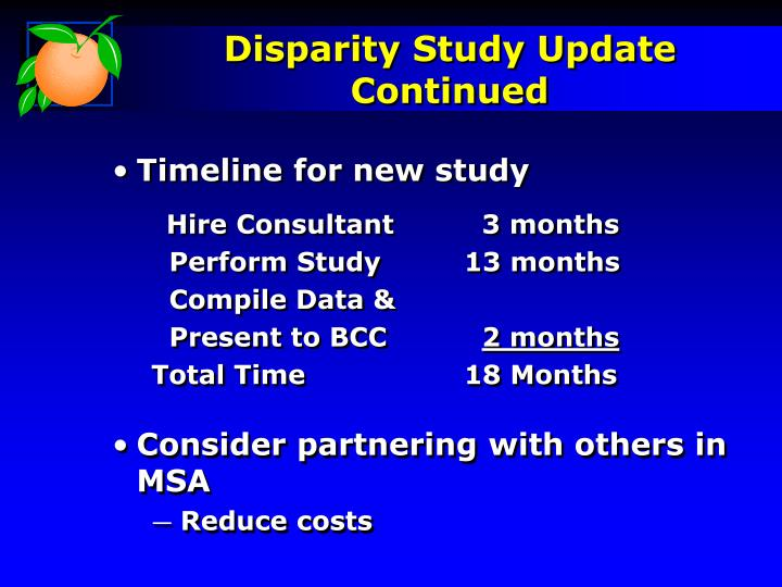 Disparity Study Update