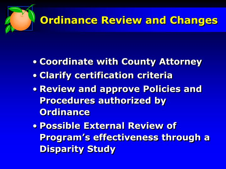 Ordinance Review and Changes