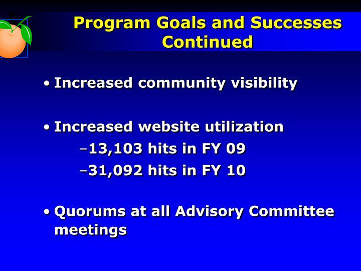 Program Goals and Successes