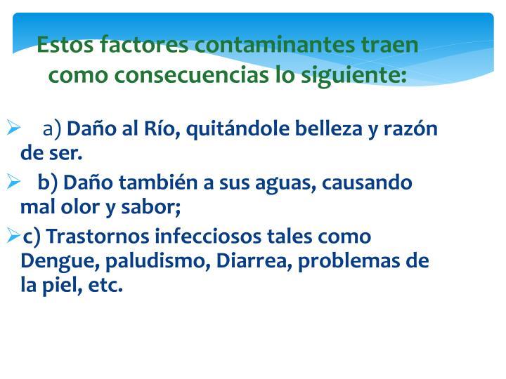 Estos factores contaminantes traen como consecuencias lo siguiente: