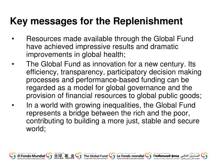 Key messages for the Replenishment