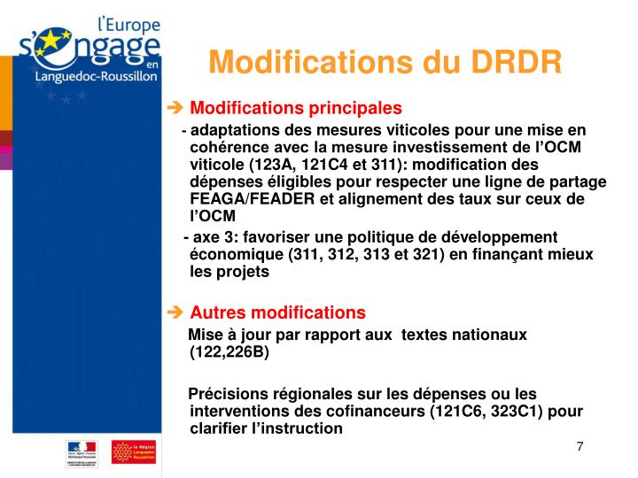 Modifications du DRDR