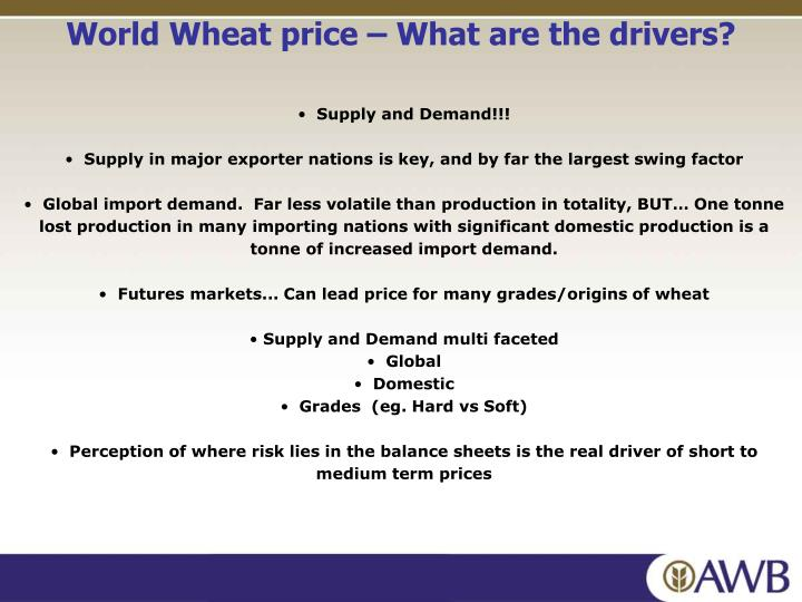 World Wheat price – What are the drivers?