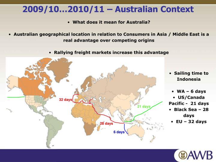 2009/10…2010/11 – Australian Context
