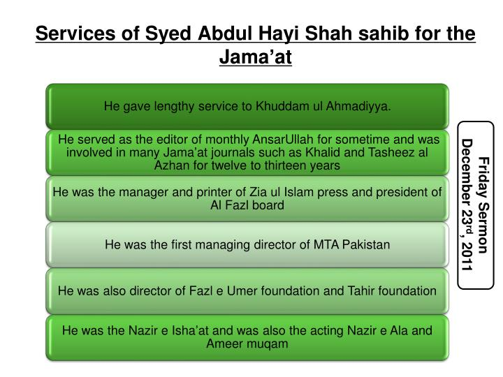 Services of Syed Abdul Hayi Shah sahib for the Jama'at
